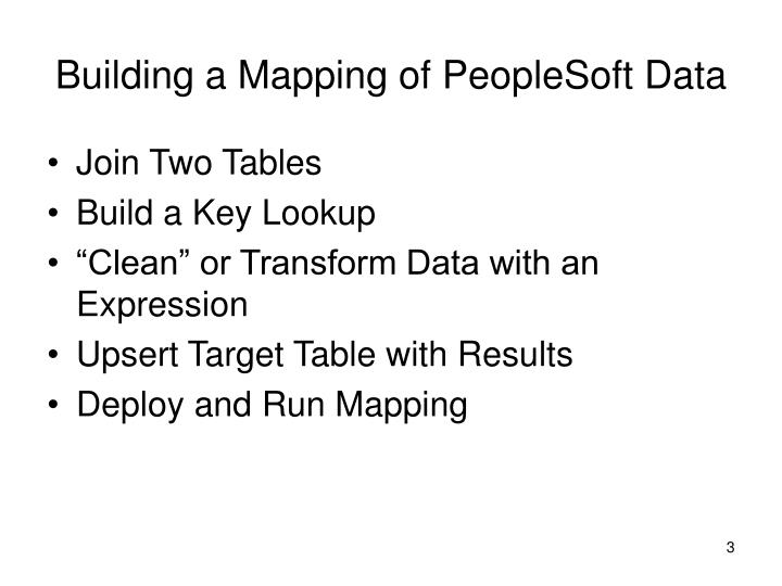 Building a Mapping of PeopleSoft Data