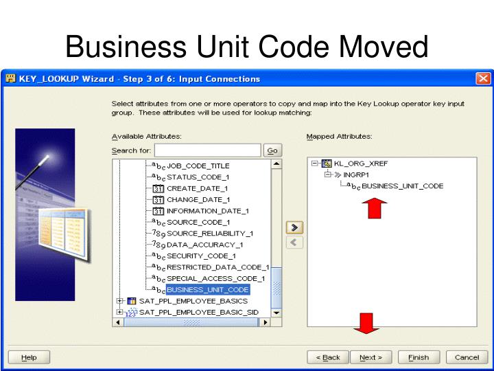 Business Unit Code Moved
