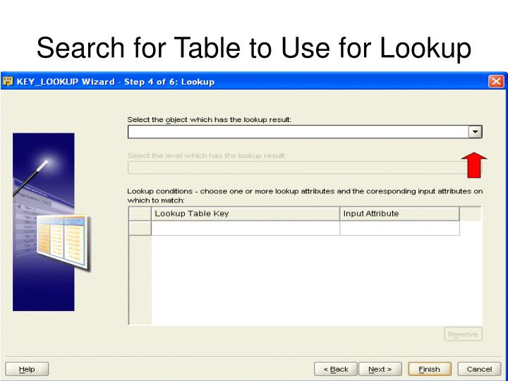 Search for Table to Use for Lookup