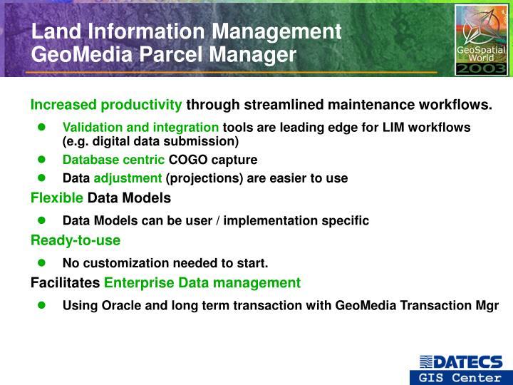 Land Information Management GeoMedia Parcel Manager