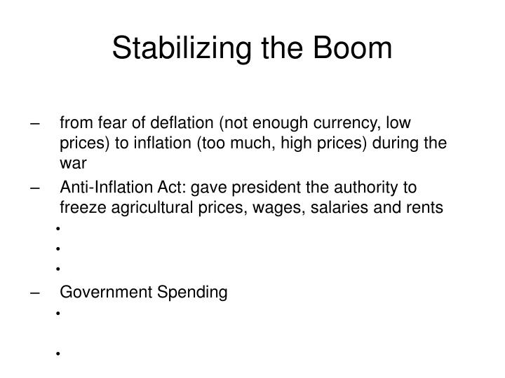 Stabilizing the Boom