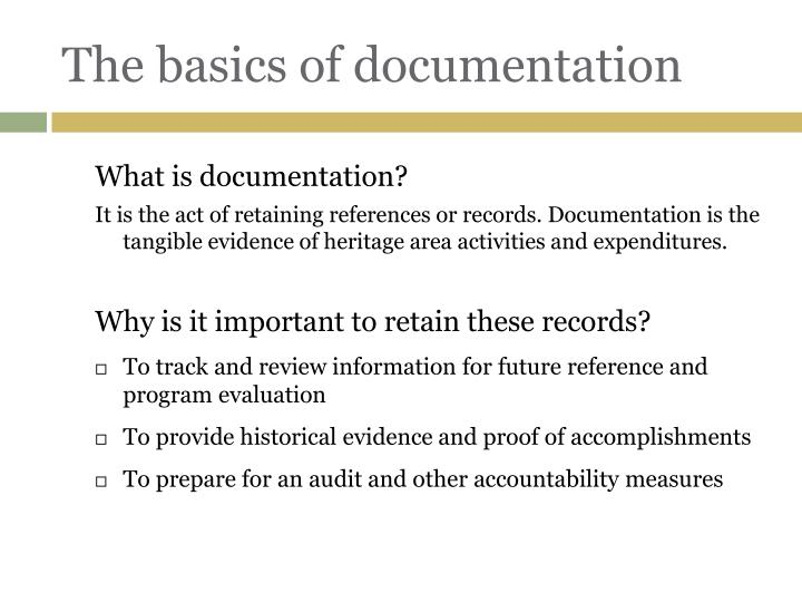 The basics of documentation