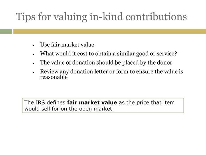 Tips for valuing in-kind contributions