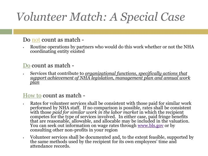 Volunteer Match: A Special Case