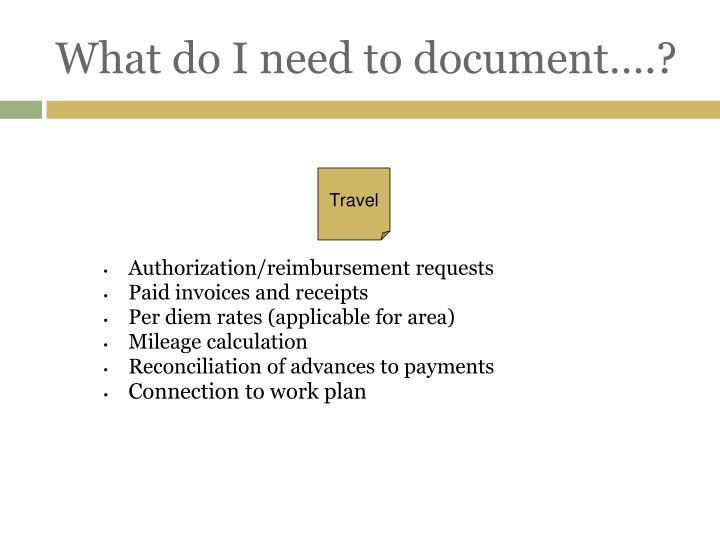 What do I need to document….?