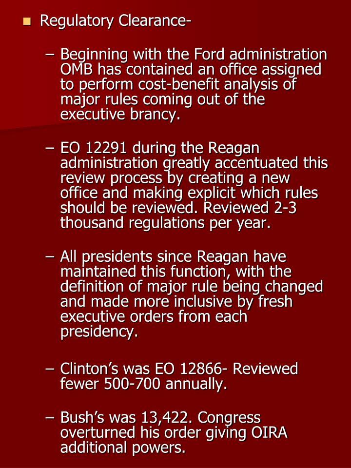 Regulatory Clearance-