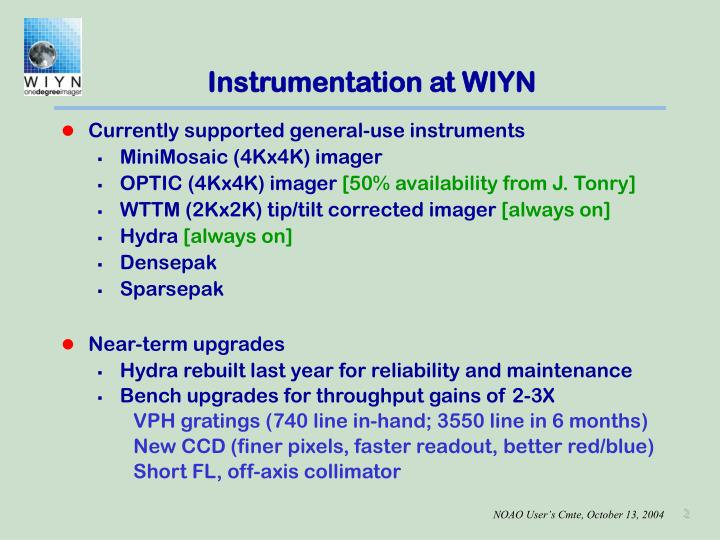 Instrumentation at WIYN