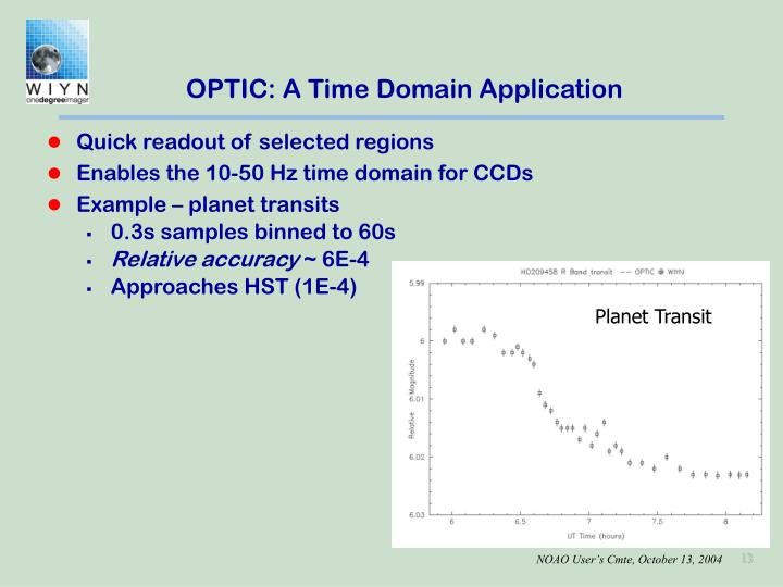 OPTIC: A Time Domain Application