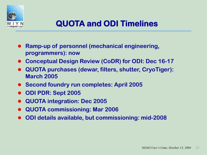 QUOTA and ODI Timelines
