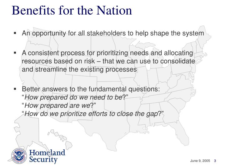 Benefits for the Nation