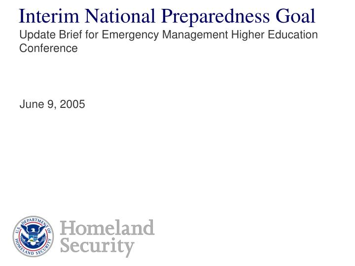Interim National Preparedness Goal