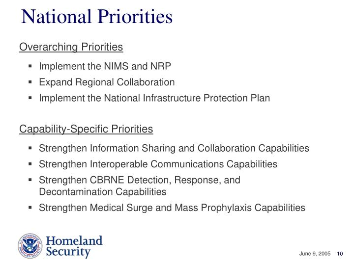 National Priorities