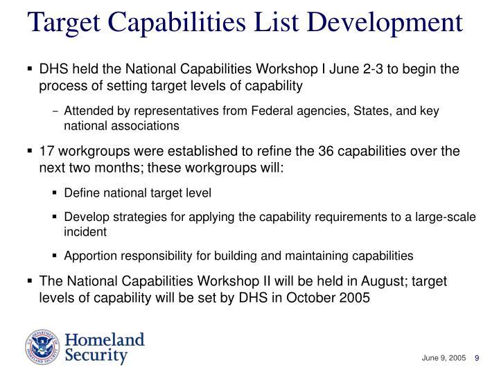 Target Capabilities List Development