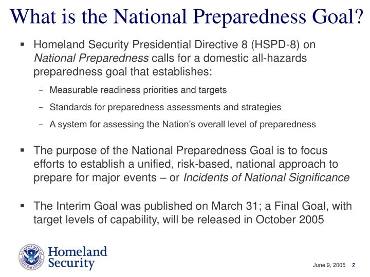 What is the National Preparedness Goal?