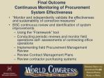 final outcome continuous monitoring of procurement system effectiveness
