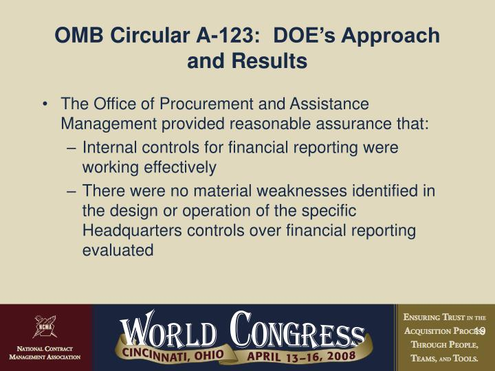 OMB Circular A-123:  DOE's Approach and Results