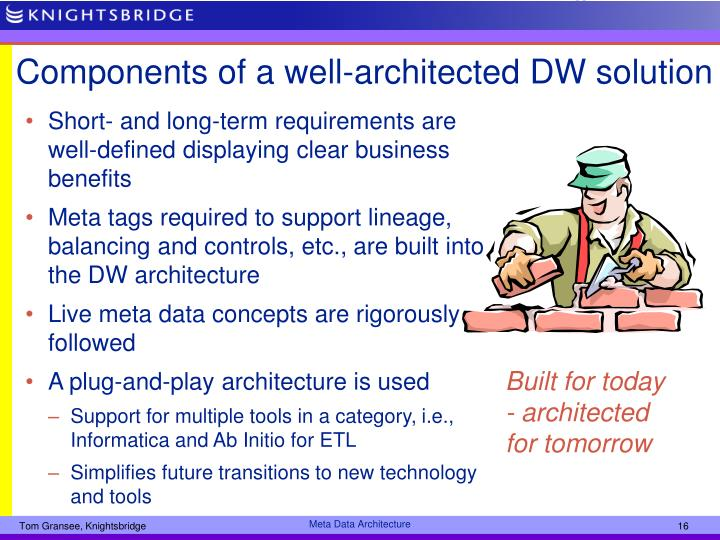 Components of a well-architected DW solution