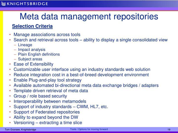 Meta data management repositories