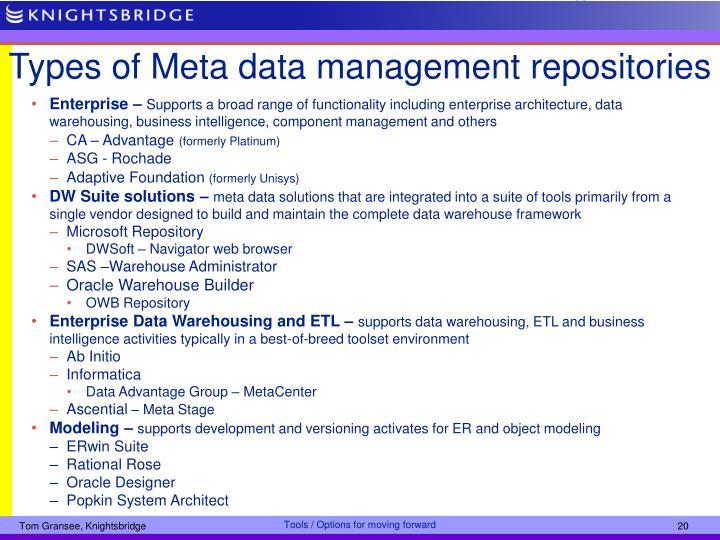 Types of Meta data management repositories