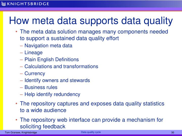 How meta data supports data quality