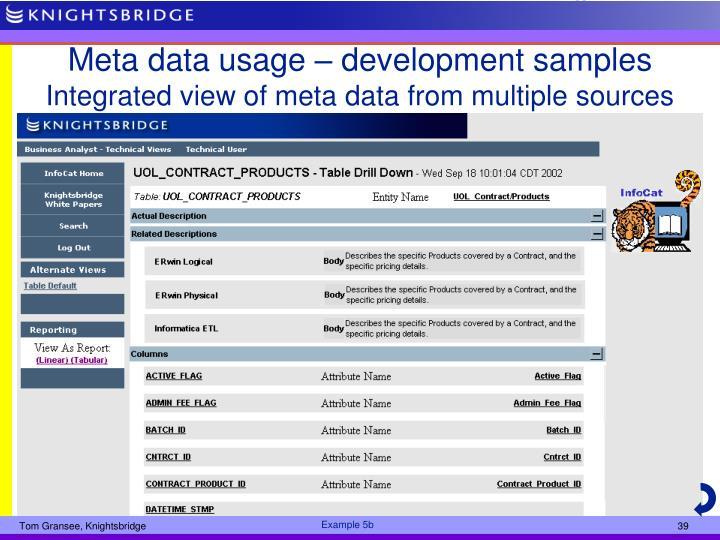 Meta data usage – development samples