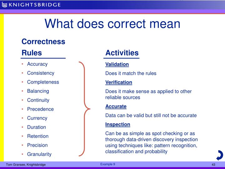 What does correct mean