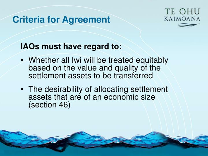 Criteria for Agreement