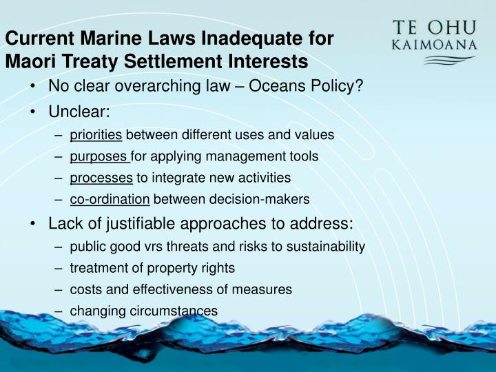 Current Marine Laws Inadequate for Maori Treaty Settlement Interests