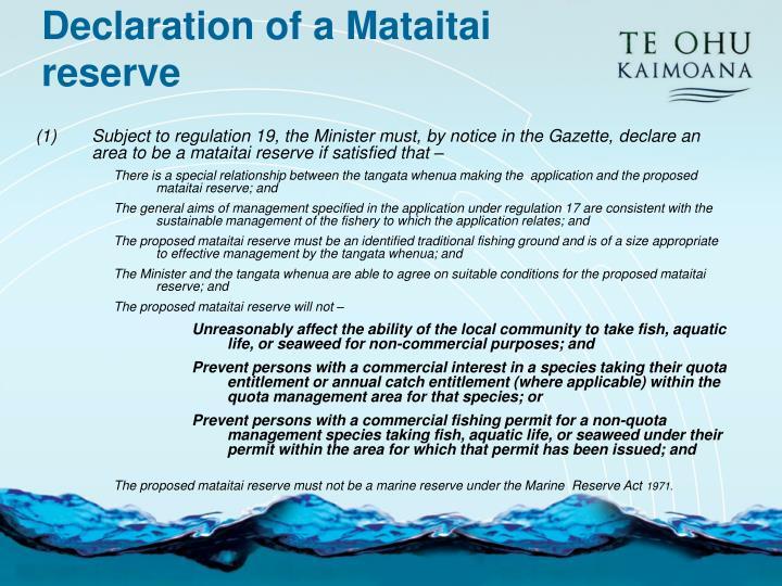 Declaration of a Mataitai