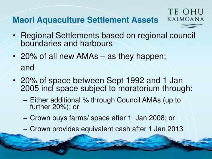 Maori Aquaculture Settlement Assets
