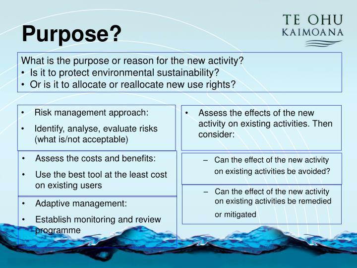 Risk management approach: