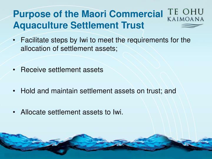 Purpose of the Maori Commercial