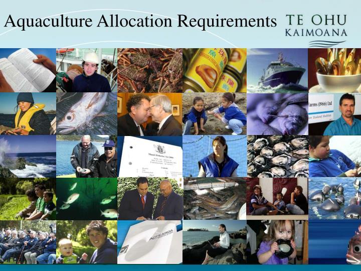 Aquaculture Allocation Requirements