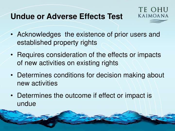 Undue or Adverse Effects Test