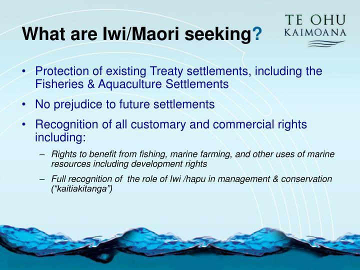 What are Iwi/Maori seeking