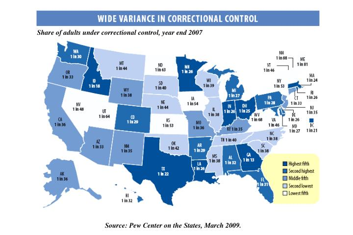 Share of adults under correctional control, year end 2007