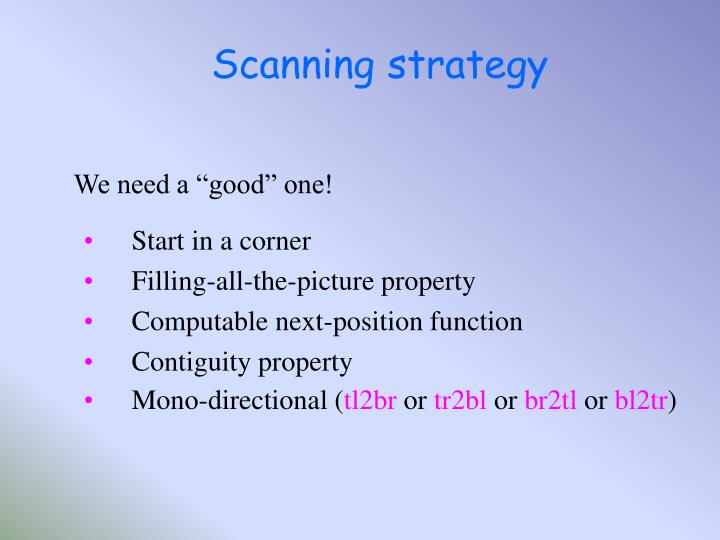 Scanning strategy