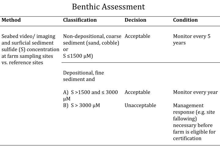 Benthic Assessment