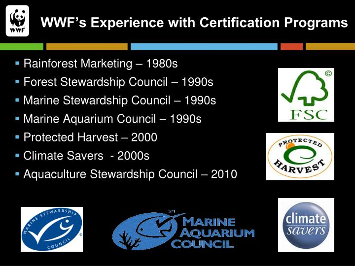 WWF's Experience with Certification Programs