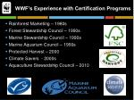 wwf s experience with certification programs