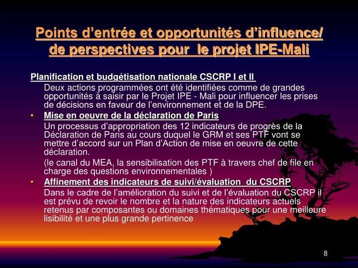 Points d'entrée et opportunités d'influence/ de perspectives pour  le projet IPE-Mali
