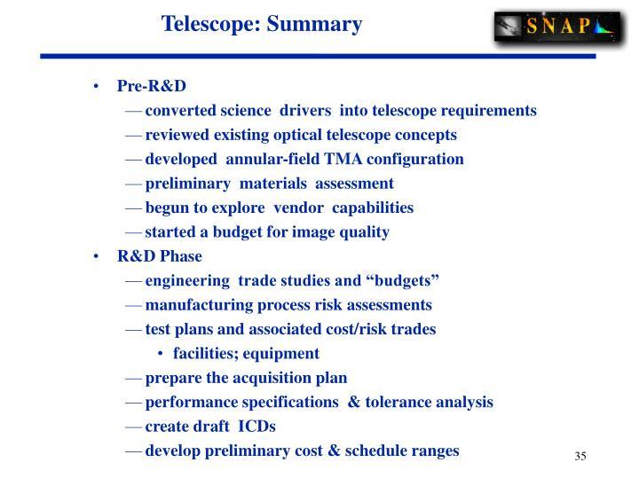 Telescope: Summary