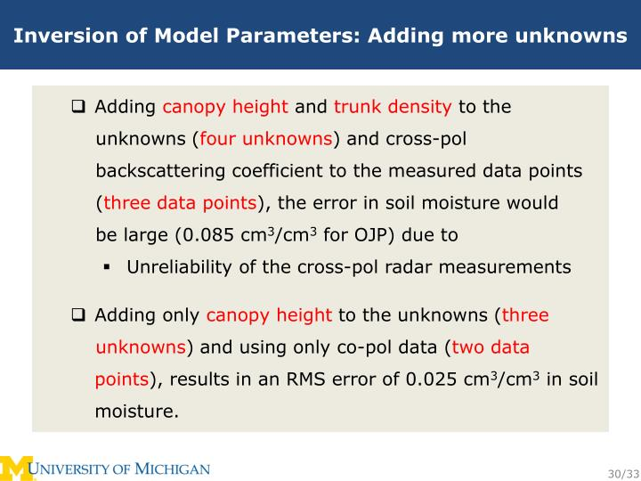 Inversion of Model Parameters: Adding more unknowns