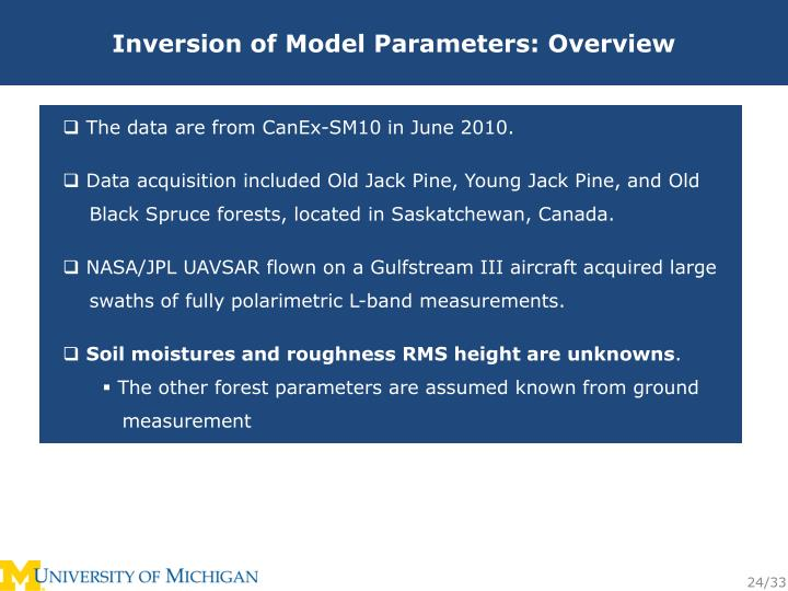 Inversion of Model Parameters: Overview