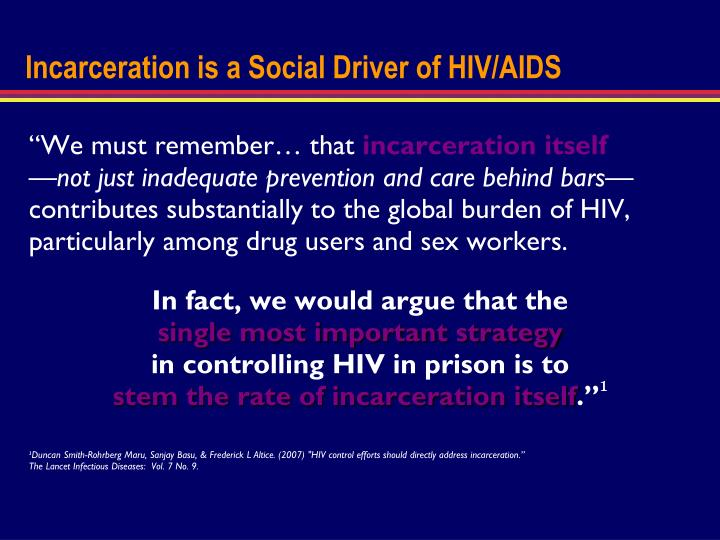 Incarceration is a Social Driver of HIV/AIDS