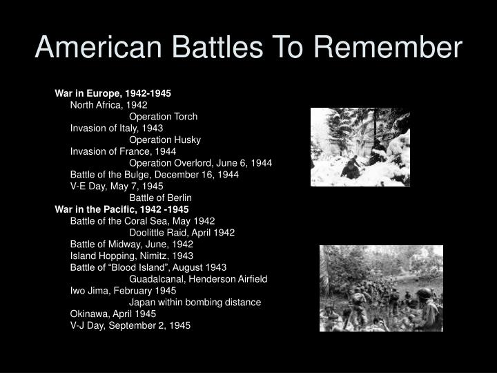 American Battles To Remember