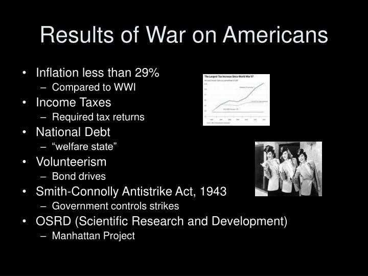 Results of War on Americans
