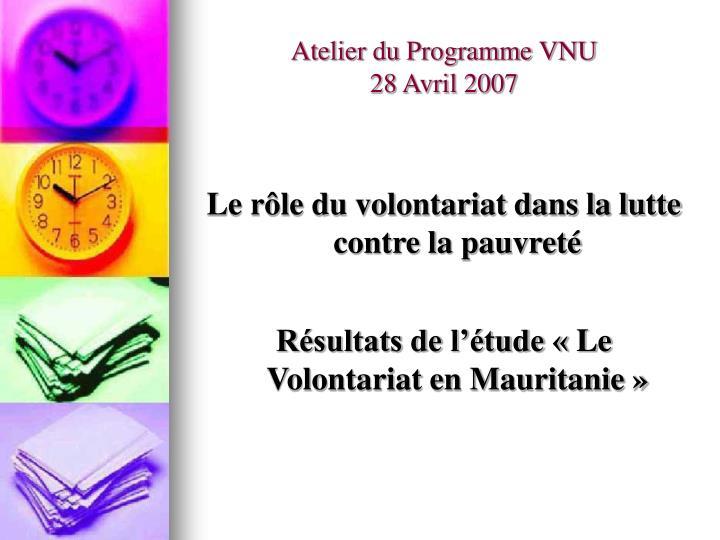 Atelier du Programme VNU
