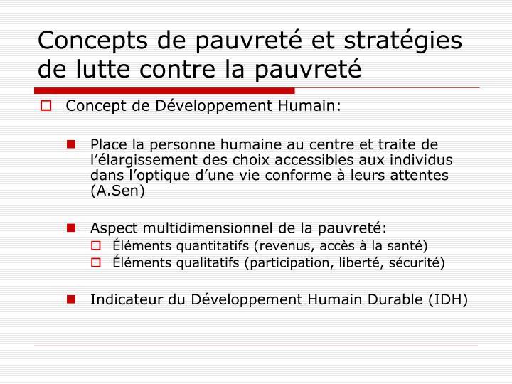 Concepts de pauvreté et stratégies de lutte contre la pauvreté