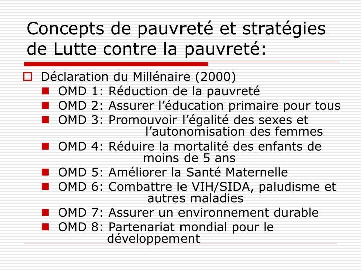 Concepts de pauvreté et stratégies de Lutte contre la pauvreté: